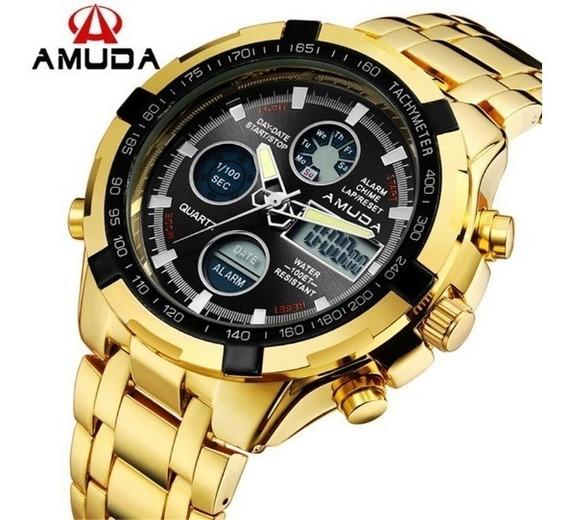 Relógio Amuda Banhado A Ouro Aço Inox Metal Original