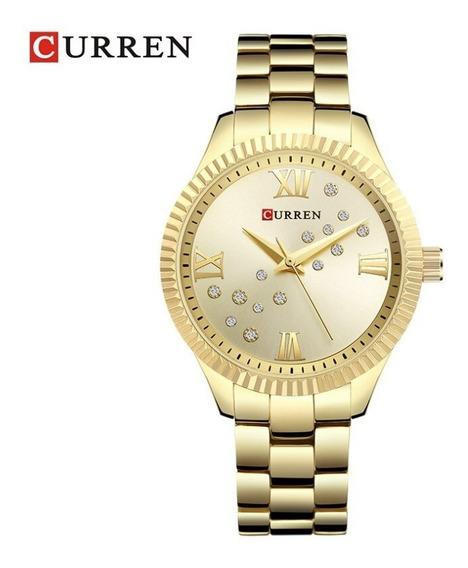 Relógio Social Curren Feminino 9009 Inox