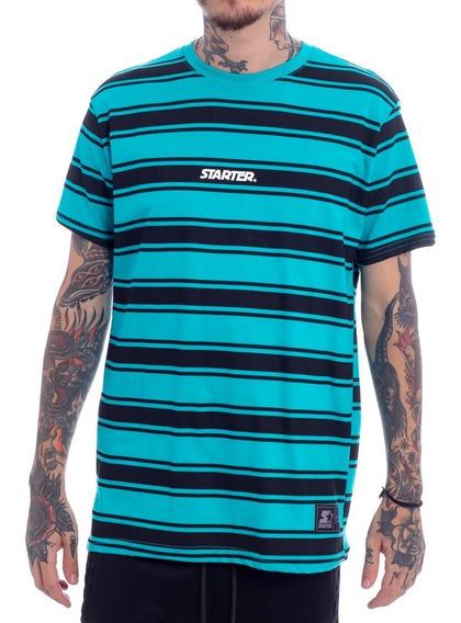 Camiseta Starter Listrada Stripes Verde Água Preta Original