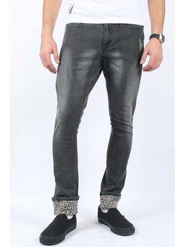 Pantalon Gris Mezclilla Hombre Leopardo Iron Fist Punk Mercado Libre