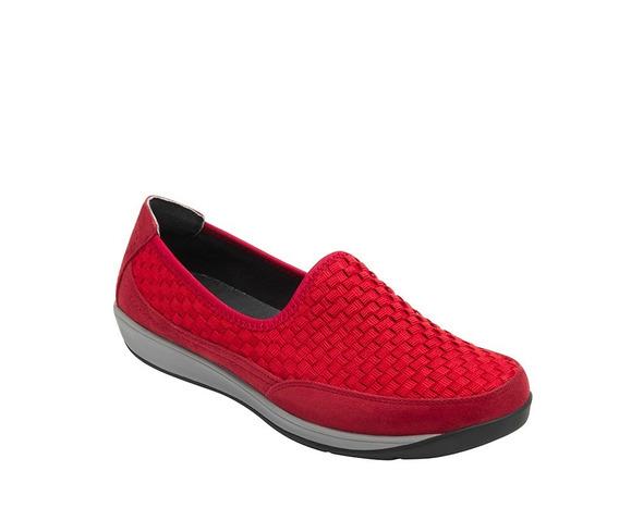 Calzado Dama Mujer Sneaker Flexi Tejido Textil Rojo Comodo
