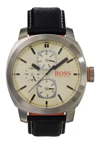 Hugo Boss Orange Relógio Pulso Masculino Pulseira De Couro