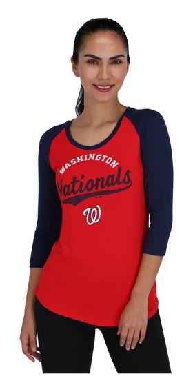 Playera Majestic Mlb Washington Nationals Mujer Rojo