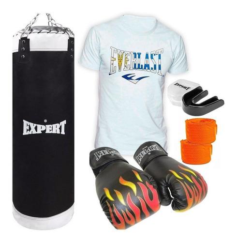 Kit Boxeo Bolsa Completa + Guantes + Remera Everlast! El Rey
