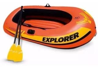 Bote Inflable Intex Para Canotaje Explorer 200 Con Remos