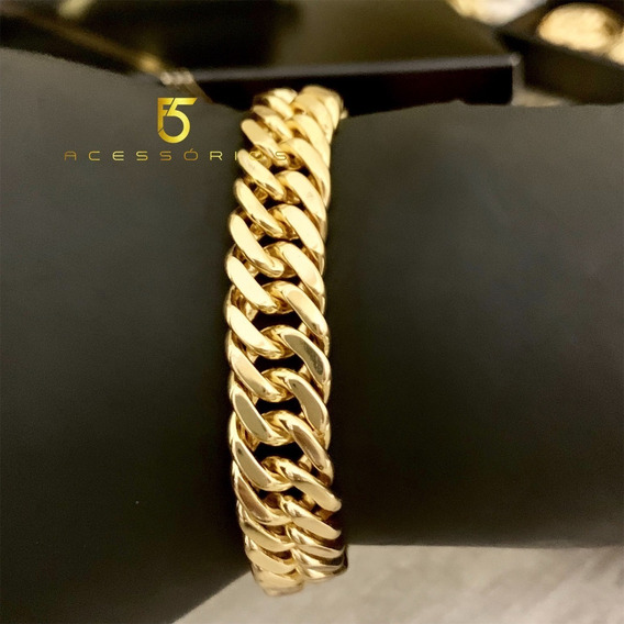 Pulseira Banhada A Ouro 18k 13mm Grumet Lacraia Elos Duplos Com Essa Não Tem Erro Chama Atenção Peça Igual Ouro