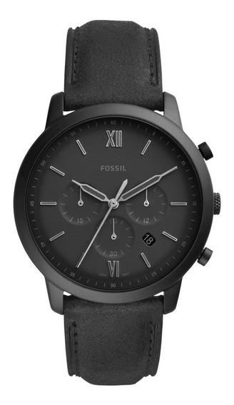 Relógio Masculino Fossil Chrono Fs5503/0pn 44mm Couro Preto