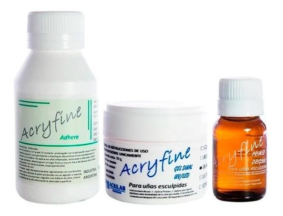 Acryfine Gel Uv Led 30gr + Top Coat On-off + Adhere + Primer