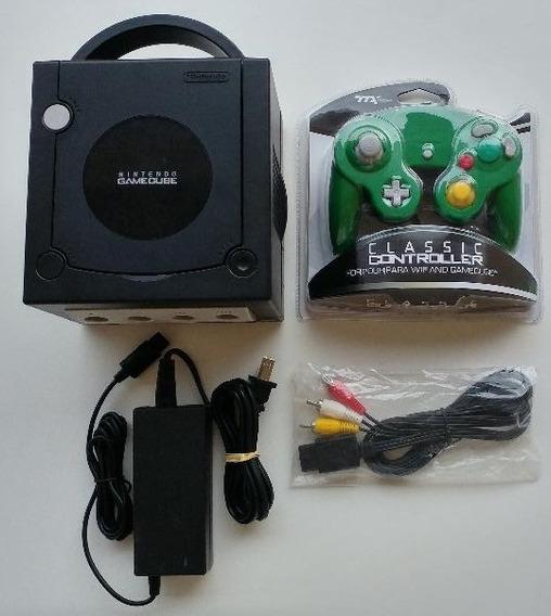 Gamecube Preto + 2 Controles + Smash Bros + Memory Card Novo