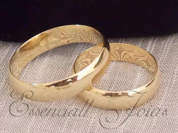 Par Alianças Casamento Ouro 18 K 4 Mm 9 Gramas Anatômicas