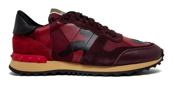 Valentino Leather Suede Camouflage Rockstud - Tamanho 40