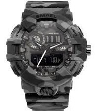 Relógio Smael 8001 Digital E Analógico Camuflado Do Esporte