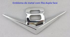 Emblema Adesivo Metal Turbo V8 Cromado Veiculos 8 Cilindros
