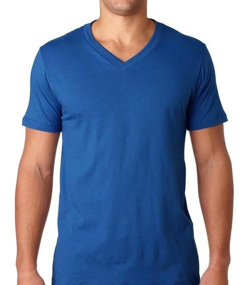 Camisetas Cuello En V En Colores - Algodón 180 Gramos Unisex