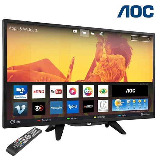 Smart Tv Led 32 Aoc Placa Wifi Usb Hdmi Nf-e Bem Embalada