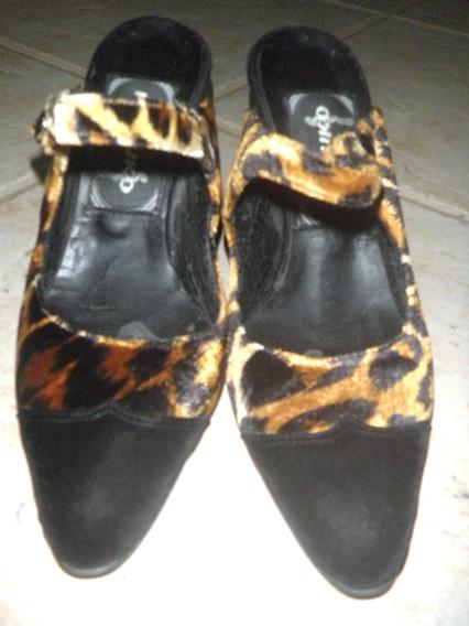 Zapatos Kosiuko Animal Print. Cuero Y Terciopelo - No Envio