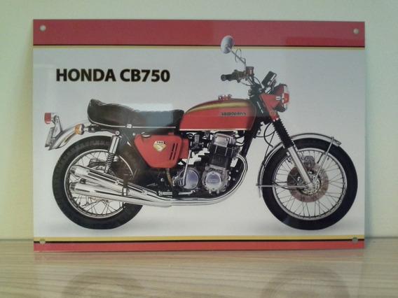 Mini Placa Honda Cb 750 Vermelha Alumínio 28,5 Por 19,8 Cm