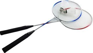 Jogo Raquete2 Raquetes Badminton Vermelha E Azul + 2 Peteca