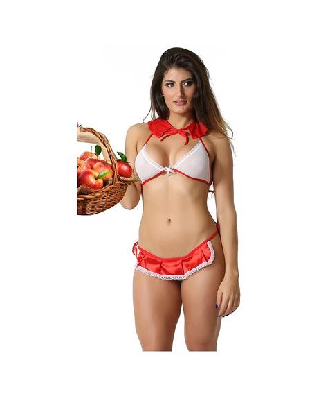Mini Fantasia Chapeuzinho Vermelho Sensual + Brinde Promoção