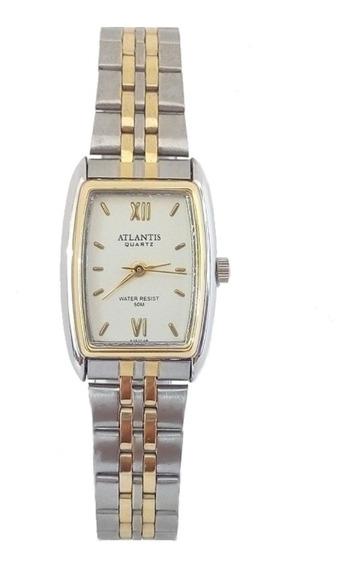 Relógio Feminino Atlantis Quadrado Original Prova Dágua