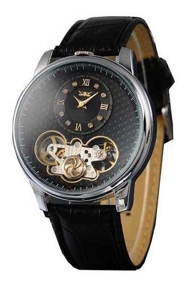 Relógio Pulso Automático Masculino Turbilhão Esqueleto Couro