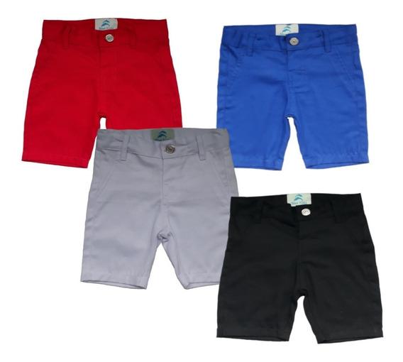 Kit 4 Bermuda Social 4 Camisa Infantil Bebê Menino Promoção