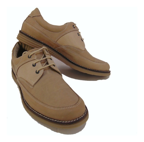 Zapato 100% Cuero Base Goma Marron Claro Foot Notes 1120