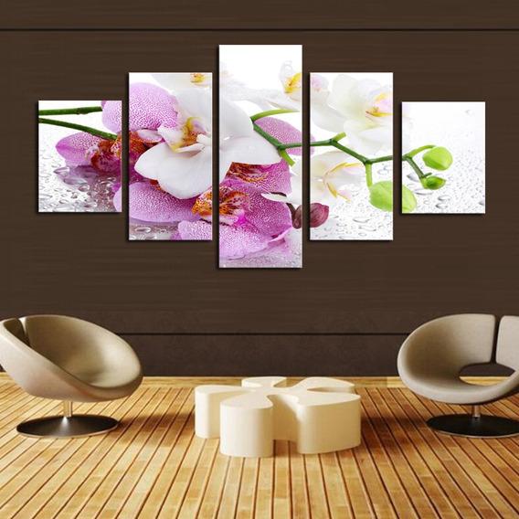 Quadro 70x150 Orquídea Flores 5 Peças Decorativo Interiore