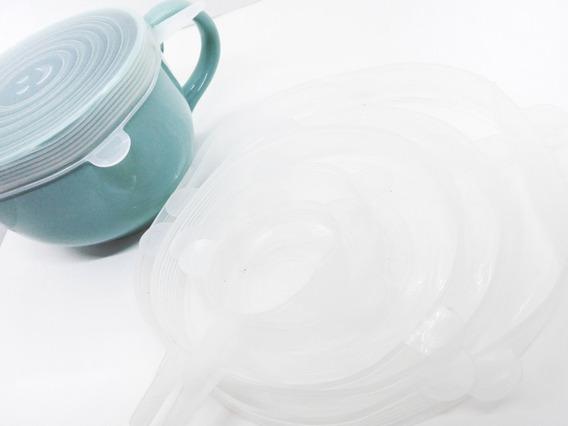 Set 6 Tapas De Silicona Transparente Reutilizables Ecológico