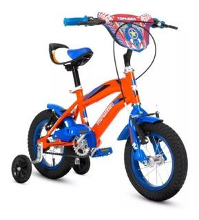 Bici Rod 12 Varon Con Rayos Cámaras Y Cubiertas .azul O Roja