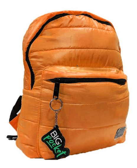 Mochila Escolar Big Pocket 11p Nylon Tipo Uniqlo Ppr Naranja