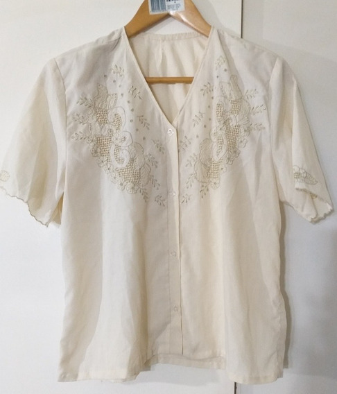 Blusa Camisa Mujer Bordada Impecable M
