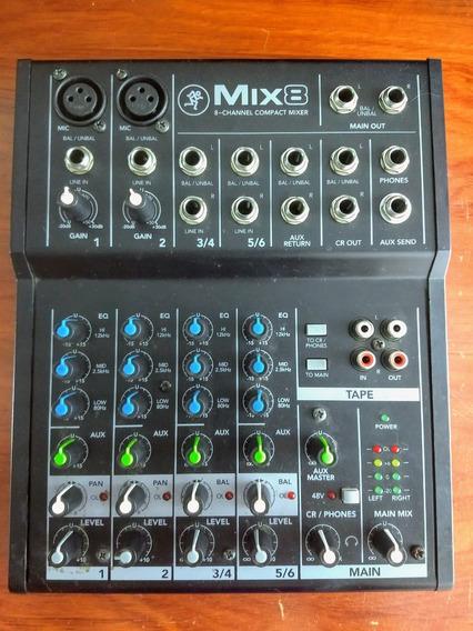 Mesa Mixer Analógica 8 Canais 48v Aux Mackie Mix8