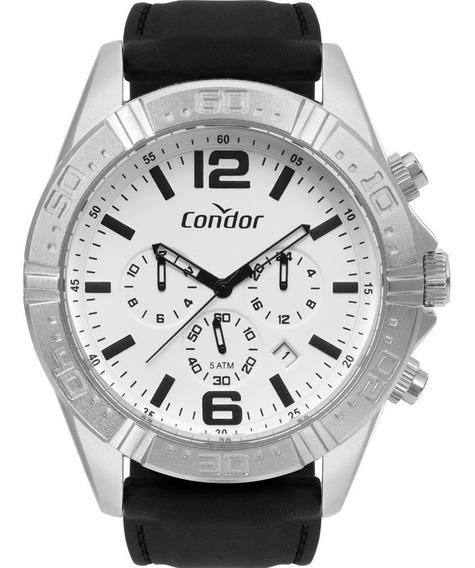 Relógio Condor Masculino Silicone Analógico Prata Original