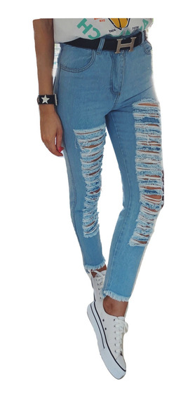 Jeans Mom Rotos Mujer Tiro Alto Chupin Vintage Rigidos Boyfriend 80s 90s Azul Celeste Colores Talles