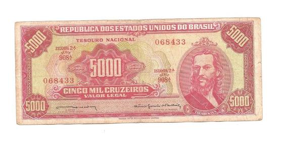 C108 - Cédula 5 Mil Cruzeiros - 2ª Estampa - Tiradentes 1964