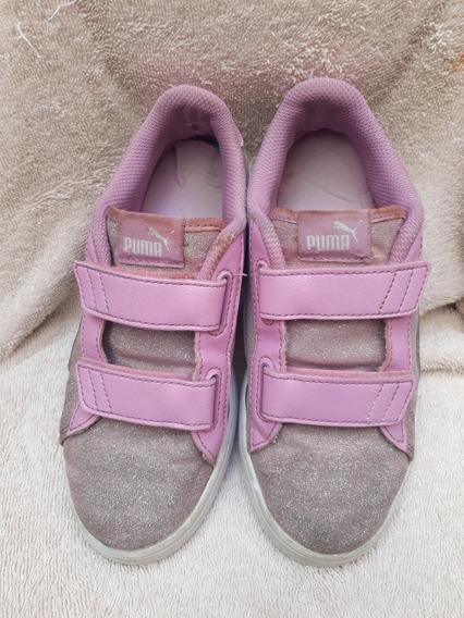Zapatillas Puma Nena Talle 35 Lila Con Brillos