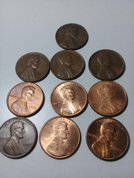 Lote De 10 Monedas Centavos De Dólar