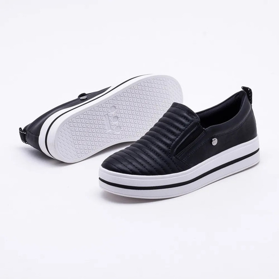 Tenis Quiz Slip On Flatform 67-34910 Preto E Antique