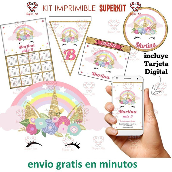 Kit Imprimible Unicornio Dorado Promo 2x1 2020 Superkit