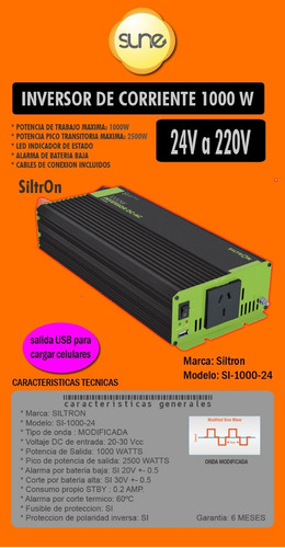 Energía Solar Inversor Onda Modificada 24v 1000w