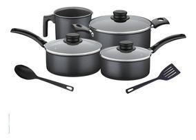 Set Batería Cocina Antiadherente Tramontina Turim 6pzs Negro