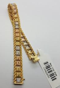 Pulseira Em Ouro 18k De 3 Cores Taparella Quadrada 11,65g
