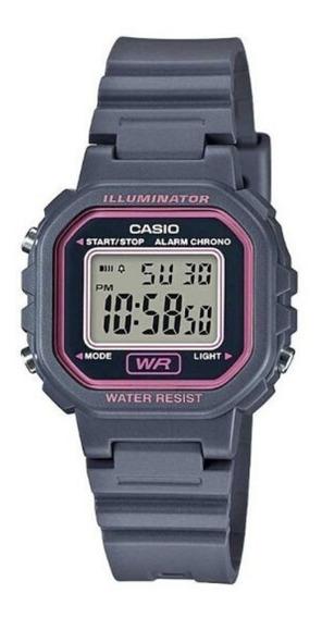Relógio Casio Feminino Cinza E Rosa Quadrado Pequeno Digital