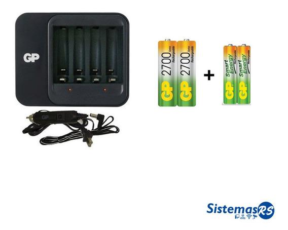 Cargador Gp Portatil + 2 Aa + 2 Aaa Bateria Aaa Recargable