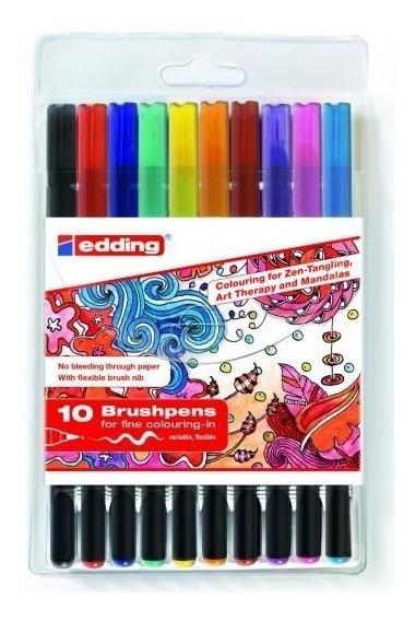 Marcador Edding 1340 Brushpens Estuc.x10 Colores Microcentro
