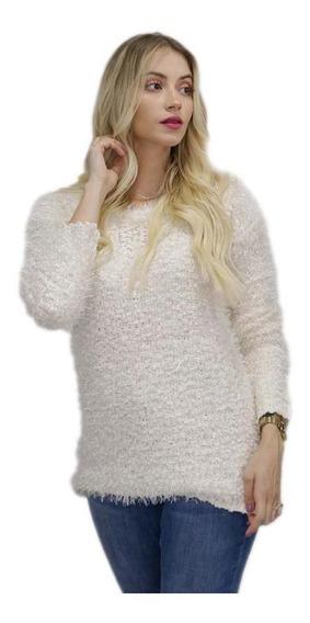Blusa De Frio Feminina Pelinho Branca Felpudo Insta Top Luxo