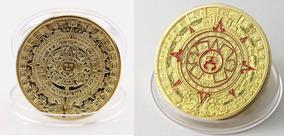2 Moedas De Ouro (banhada) Calendário Asteca E Profecia Maia