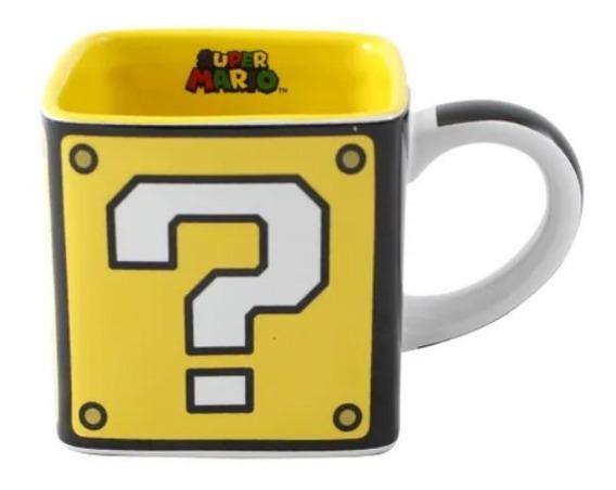 Caneca Formato Cubo Bloco Quadrada Super Mario Bros Nintendo