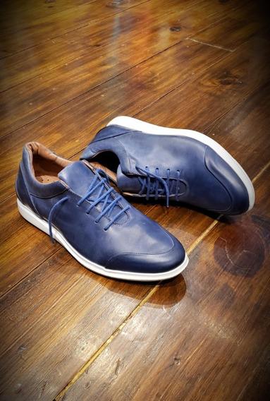 Calzado Urbano Zapatilla Cuero Azul Elegante Sport